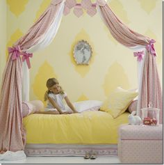 Inspiration for Alaina's bed! serena & Lily yellow bedding girls canopy