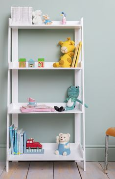 This contemporary Standing Shelf Unit is essential for any child's bedroom. Decked out with four spacious shelves, the piece provides stylish storage for your little one's bits and bobs. #shelf #kidsstorage #kidsfurniture #shelving Childrens Bedroom Furniture, Kids Bedroom, Kids Storage, Storage Spaces, Free Standing Shelves, Ladder Bookcase, Bedroom Storage, Colour Schemes, Ideal Home