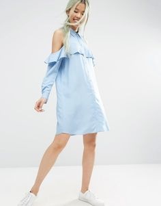 ASOS+Cold+Shoulder+Frill+Sleeve+Shirt+Dress