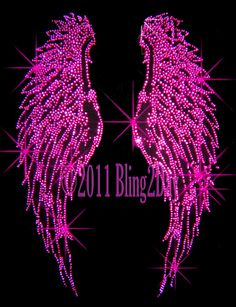 Fuchsia (Hot Pink) Angel Wings - Iron on Rhinestone Transfer Bling Hot Fix Applique - DIY Cross Wallpaper, Wings Wallpaper, Iphone Wallpaper, Unique Wallpaper, Pink Lila, Rhinestone Transfers, Everything Pink, Angel Wings, My Favorite Color