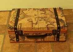 "Suitcase Style Old World Map Box. 13.8""x8.8""x5"" tall.  $34.99 at OldArtView on etsy, 8/10/15"