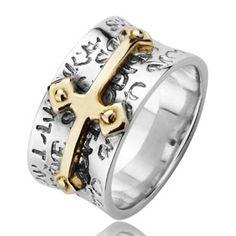 925 Sterling Silver Jesus Christ Cross Bible Ring Gift For Men