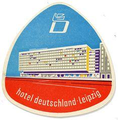 Hotel deutschland, Leipzig, Germany luggage label