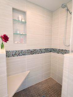 Sensational Bathroom Design with the Best Design: Stunning Clovernook Bath Shower Design Mosaic Tile Striped