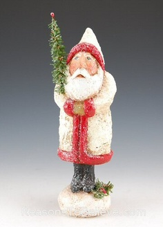 Kathy Cornell White and Red Belsnickle Santa Claus | Santa Claus Figurines and Hand Carved Wooden Santas Paper Mache