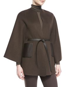 Andana Cashmere & Leather Cape, Chocolate by Loro Piana at Bergdorf Goodman.