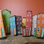 painted rock row houses by Salty Rocks and Seagirt Designs Feather Painting, Stone Painting, House Painting, Diy Painting, Rock Painting, Multimedia Arts, House On The Rock, Driftwood Crafts, Newfoundland And Labrador