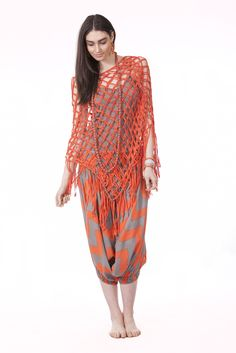 Aeriel Poncho in Orange, Bailey Zig Pants in Orage & Stone, Simply Long Cami in Stone