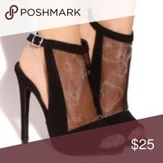Black Heels with Mesh Front Looks exactly as pictured. BRAND NEW, worn once! Still have the box and everything! No scratches, marks, nothing at all. 100% condition. Ask any questions below. Shoes Heels