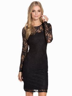 Onllise Lace L/S Dress Jrs - Only - Black - Party Dresses - Clothing - Women - Nelly.com
