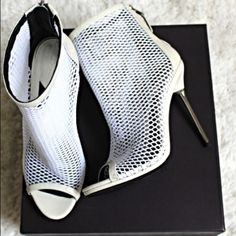 """Brian Atwood Michelet Mesh Peep Toe Ankle Boot Worn Once‼️  Comes With Box And Dust Bag  Mesh net upper with tonal patent trim. Patent covered counter with back zip. Open toe with patent base. 4 3/4"""" metal heel. Padded leather insole; leather outsole. """"Michelet"""" is imported. Note: None of these minor flaws are visible unless you're looking at the shoe closely. Heels Are In Great Shape. Minor Black Marks on bottom. Mark on the back of left heel (metal part) B Brian Atwood Shoes Ankle Boots…"""