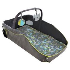Eddie Bauer® Infant Travel Bed - Black/Green - perfect for on the go.  you can safely lay them out on unfamiliar floors.