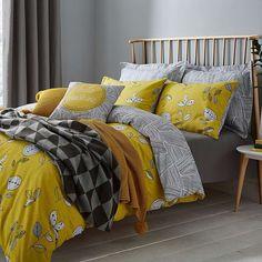 Elements Sunflower Yellow Reversible Duvet Cover and Pillowcase Set 2019 Elements Sunflower Yellow Bed Linen Collection Yellow Bed Linen, Yellow Bedding, Bed Linen Sets, Grey Bedding, Bedroom Yellow, Duvet Bedding, Comforter Sets, Linen Bedding, Bed Linens