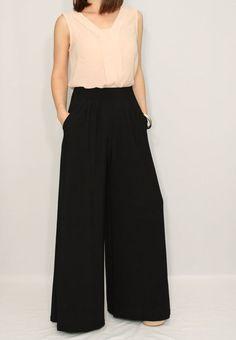 Wide leg pants women Black pants with pockets Office wear High waisted pants women trousers Womens Fashion Casual Summer, Black Women Fashion, Look Fashion, Autumn Fashion, Fashion Design, Fashion Ideas, Classy Fashion, Fashion Night, Office Fashion