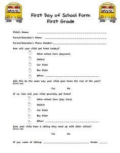 first day of school parent info sheet
