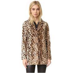 Velvet Celine Coat ($250) ❤ liked on Polyvore featuring outerwear, coats, saharan, leopard print coat, fur-lined coats, velvet coat, short coat and leopard coat