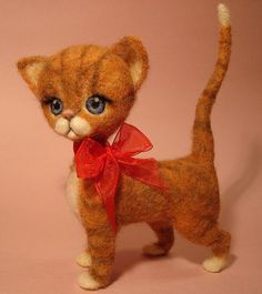 Needle felted cat by Zada Creations - reminds me of Dina from Alice in wonderland