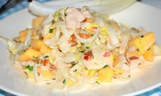 Witlofsalade met gerookte kip en mango Chicory salad with smoked chicken and mango. Healty Lunches, Healthy Snacks, Healthy Recipes, Dutch Recipes, Cooking Recipes, Enjoy Your Meal, Good Food, Yummy Food, No Cook Meals