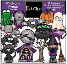 Witch And Friends Clip Art Bundle from Educlips on TeachersNotebook.com -  (30 pages)  - Witch And Friends Clip Art Bundle