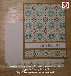Simple masculine birthday card created using the BYOP Stamp Set and Moroccan Designer Series Paper from Stampin' Up!  http://tracyelsom.stampinup.net