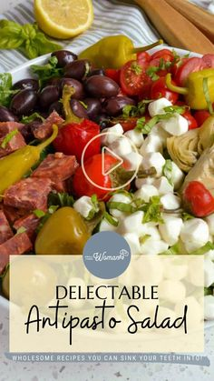 Savory Salads, Healthy Salad Recipes, Veggie Recipes, Pasta Recipes, Antipasto Salad, Antipasto Platter, Salad Dishes, Pasta Dishes, Keto Side Dishes
