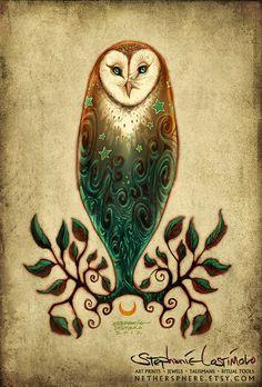 Solstice Owl - Barn Owl Tree Leaves Moon Stars Spirals 11x17 Print