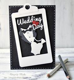 Vladka Serbinek: Creative Chest for CottageBLOG: Black and white with little red - 6/18/14.  (Dies: Formal Neckline; WEDDING DAY-words).  (Pin#1: Dies: CottageCutz.  Pin+: Anniversary/Wedding).