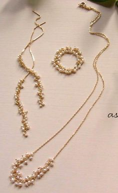pearl x gold necklace, earrings, ring