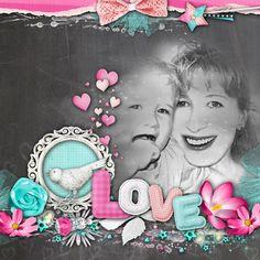 love, amour, pink, women, girly, digital scrap, template, scrapbooking, child, baby, mum