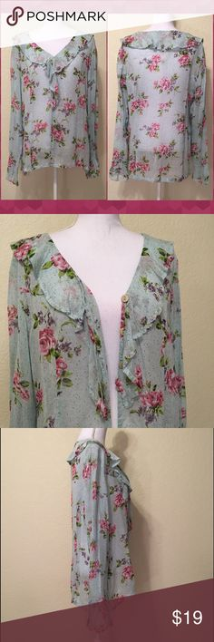 """NWOT Express Blue Sheer Floral Print Top Size M.  From International Express.  Three button closure.  Ruffle neckline and cuffs.  Length shoulder to hem: 28"""".  Bust: 42"""".  Waist: 40"""".  Bottom back panel of shirt: 20"""" across.  Sleeve length: 26"""".  Cuff width: 5"""".  100% rayon.  Dry clean only.      Love it but not the price - I'm open to (reasonable) offers or consider bundling 2 or more items for an additional 15% off and combined shipping!    Check out my reviews - I only sell great quality…"""
