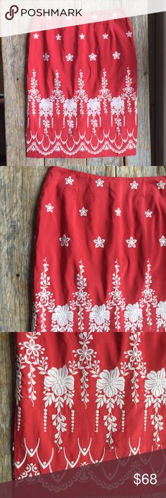 Tracy Reese Embroidered Silk Skirt EUC. This is a stunning silk skirt with heavy Embroidery around entire skirt. Back zip. Made in USA. Tracy Reese Skirts