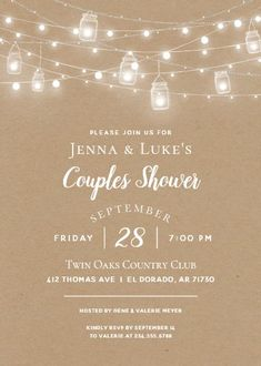 """Rustic String Lights Couples Shower Invitation. Size: 5"""" x 7"""" Make custom invitations and announcements for every special occasion! Choose from twelve unique paper types, two printing options and six shape options to design a card that's perfect for you. Size: 5"""" x 7"""" (portrait) or 7"""" x 5"""" (landscape) Standard white envelope included Add photos and text to both sides of this flat card at no extra charge Use the """"Customize it!"""" CLICK IMAGE FOR MORE DETAILS. Couples Wedding Shower Invitations, Housewarming Party Invitations, Baby Shower Invitations, Custom Invitations, Wild One Birthday Party, Communion Invitations, Rustic Mason Jars, Couple Shower, Wedding Website"""