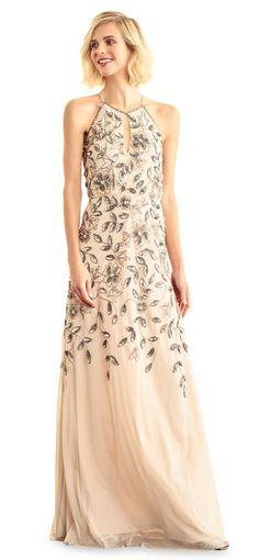 Adrianna Papell   Floral Beaded Halter Dress with Godet Skirt