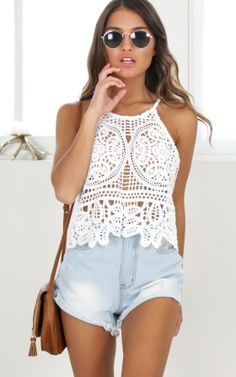 Sweet As Pie crop top in white lace