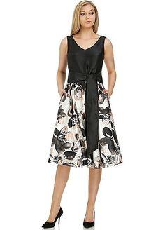 Roman Originals Contrast Floral Fit & Flare Dress