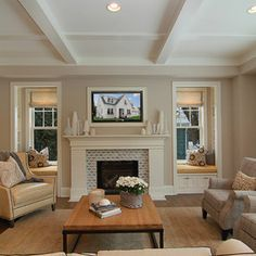 Fabulous Transitional Family Room Design Interior with Small Traditional Fireplace Mantel Decorating Ideas for Home Inspiration - Interior Decoration Ideas - 4018 Fireplace Windows, Fireplace Tile Surround, Fireplace Surrounds, Fireplace Design, Fireplace Mantel, Fireplace Bookshelves, Fireplace Garden, Shiplap Fireplace, Cottage Fireplace