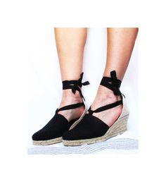 MEDIUM Wedge Lace Up Women Espadrilles Organic Cotton by IBICENCAS #laceup #espadrilles #veganshoes #wedge #hippie  #sandals #shoes #boho