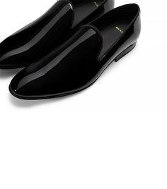 Zara Patent Slippers in Black