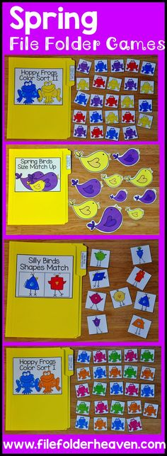 Learning Center This spring themed file folder games bundle bundle focuses on basic sorting and matching skills. It includes 13 complete file folder games. Preschool Lesson Plans, Preschool Printables, Preschool Classroom, Preschool Learning, Activity Games, Classroom Activities, Preschool Activities, Kindergarten, File Folder Activities