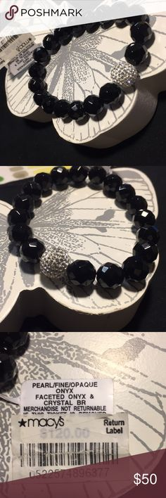 Onyx bracelet NWT Beautiful faceted onyx and crystal bracelet    Sparkles catch the light!  MSRP $120.00. Layers beautifully!! Check out all the bangles in my closet for cute layering combinations!! Make a bundle and I'll send an offer. 💍 Macy's Jewelry Bracelets