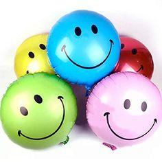 Smiley Face Foil Balloons 5 Colours Or Mixed Party Decoration Birthday Foil Balloons, Latex Balloons, Pokemon Balloons, Girls Party Decorations, Balloon Decorations, Wedding Decoration, Party Themes, Party Suppliers, Balloon Shapes