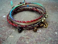 Bohemian Bracelet / Gypsy Bangle Bracelet / Ohm Jewelry / Yoga Bracelet / Tigereye / Silk Bracelet / Stacking Bangles