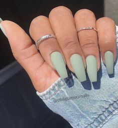 10 Popular Spring Nail Colors for 2020 10 Popular Spring Nail Colors for Inspiration. Spring Nail Colors for 2020 // Light green Matte Acrylic Nails, Acrylic Nails Coffin Short, Simple Acrylic Nails, Square Acrylic Nails, Matte Green Nails, Matte Nail Colors, Matte Nail Polish, Nail Polishes, Simple Nails