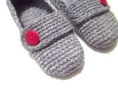 red button grey crochet slippers woman house slippers by ukraisa