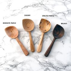 These scoops are available in spalted maple, walnut, cherry, or birdseye maple. Each one is handcrafted and totally unique - so the exact grain, size/shape, and color will vary. Each scoop measures...