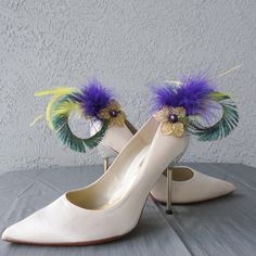 Mardi Gras Inspired  Yellow Purple Feathers And by Chuletindesigns, $30.00