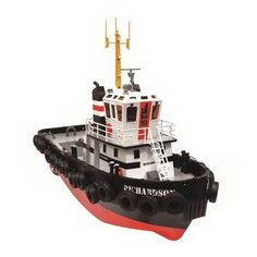 Hobby Engine 1/36 Richardson Tugboat RTR. Includes Ready-to-Run 1/36 scale Richardson Tug with two Motors, 2.4GHz Radio, Battery, Battery Charger, Stand and 22 Rubber Tires.