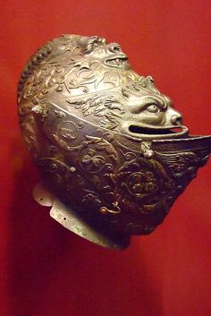 Close Helmet Embossed etched and party gilt steel attributed to Giovanni Paolo Negroli Italian (Milan) 1540-1545 CE by mharrsch, via Flickr