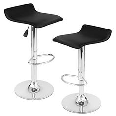 LANGRIA LRBS001 Bar Stools Set Counter Height Adjustable Swivel with Streamlined Leatherette Exterior Adjustable Gas Lift Chrome Plated Footrest and Base for Bar Counter or Home 2 PCS Black *** BEST VALUE BUY on Amazon #Barstools