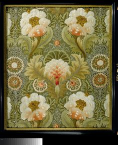 Flowers  leaves silk embroidery on linen. England, probably Leek Embroidery Society, ca. 1890.